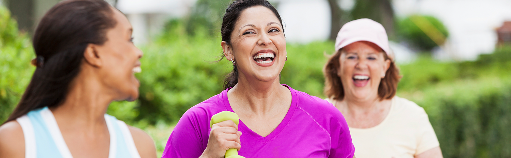 3 women jogging and laughing